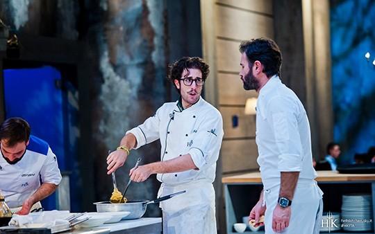 Chef Mirko Ronzoni con Carlo Cracco a Hell's Kitchen